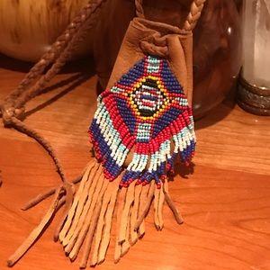 Leather Beaded Medicine Bag Necklace